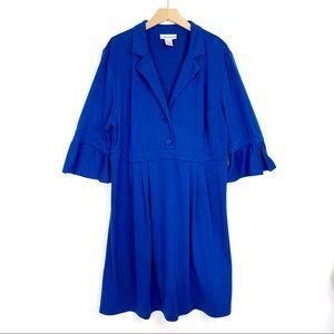 Vintage retro skirt dress flared sleeve midi blue